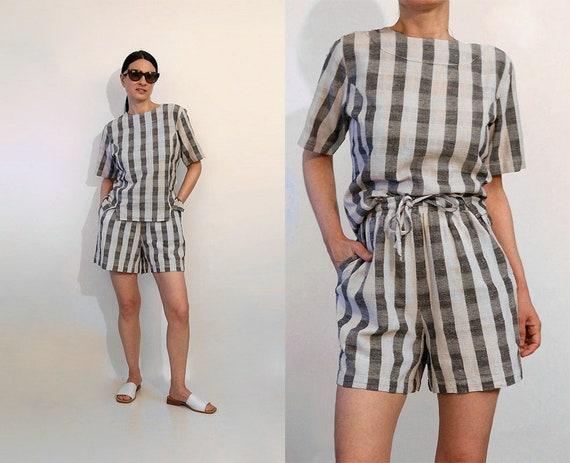 Striped India Cotton 2 Pc Shorts Set / Vintage 198