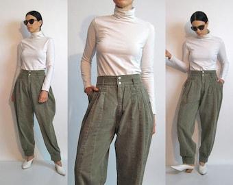 Army Green Knickerbockers / 27.5 x 29 Pants / Vintage 1980s Denim Knickerbocker Trousers / Pleated Cotton Pants / Balloon Knickers