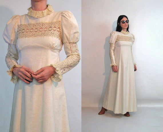60s Young Edwardian Crochet Dress / Vintage 1960s