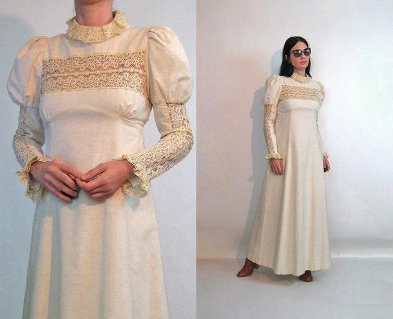 60s Young Edwardian Crochet Dress / Vintage 1960s