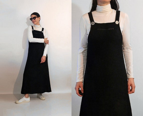 Boucle Knit Overall Dress / Vintage 1980s 1990s Bl