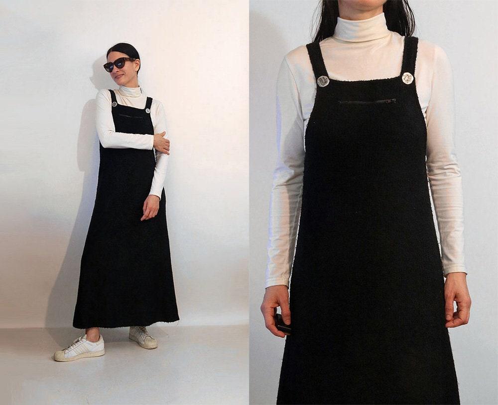 Vintage Aprons, Retro Aprons, Old Fashioned Aprons & Patterns Boucle Knit Overall DressVintage 1980S 1990S Black Suspender 80S Pinafore Apron Jumper Sweater $129.00 AT vintagedancer.com