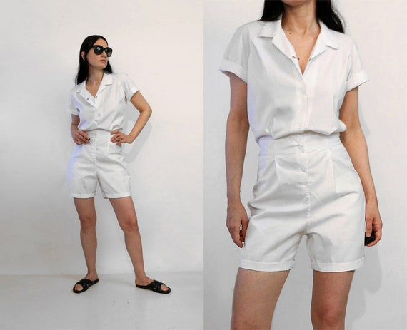 NWOT 50s White Cotton Gym Romper / Rare Vintage 19