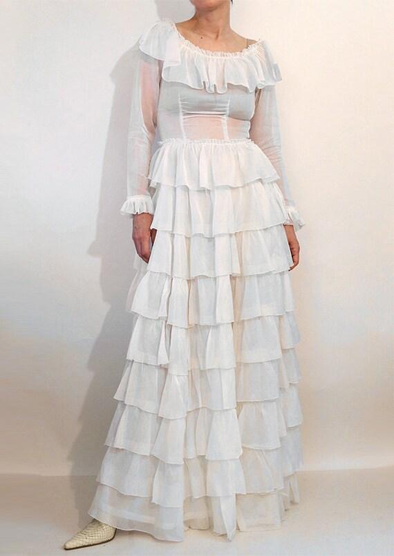 30s Ruffled Cotton Voile Dress / Vintage 1930s Sh… - image 7