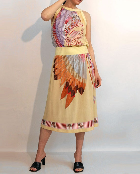 70s Indian Chief Gauze Dress / Vintage 1970s Nati… - image 5