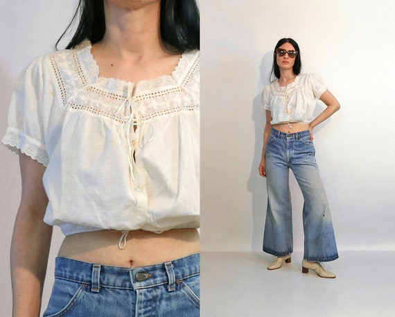Victorian Embroidered Cropped Blouse / Vintage An… - image 1