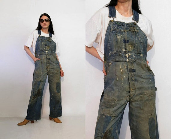 40s Patched Denim Overalls / Rare Vintage 1940s Wo