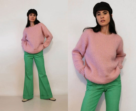 Puce Mohair Ribbed Knit Sweater / Vintage 1970s 19