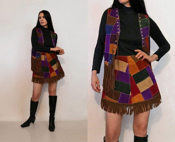 70s Rainbow Patchwork Suede Fringed 2pc Skirt Set