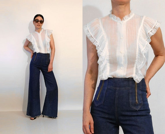70s Ruffled Cotton Gauze Blouse / Vintage 1970s Sh