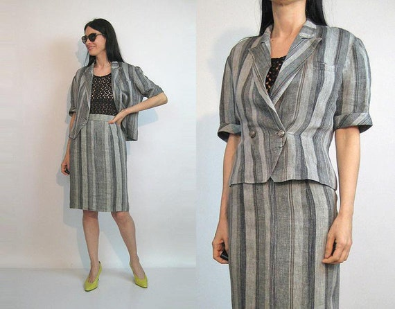French Striped Linen Outfit / Vintage 80s Linen 2