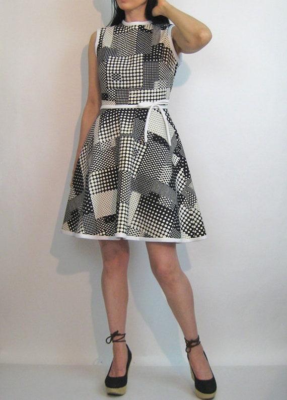 60s Dotted Plaid Cotton Dress / Vintage 1960s Pol… - image 2