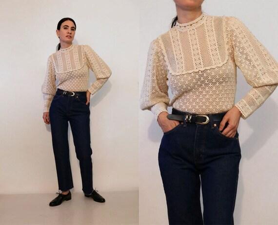 70s Crochet Cotton Lace Mutton Sleeve Blouse /