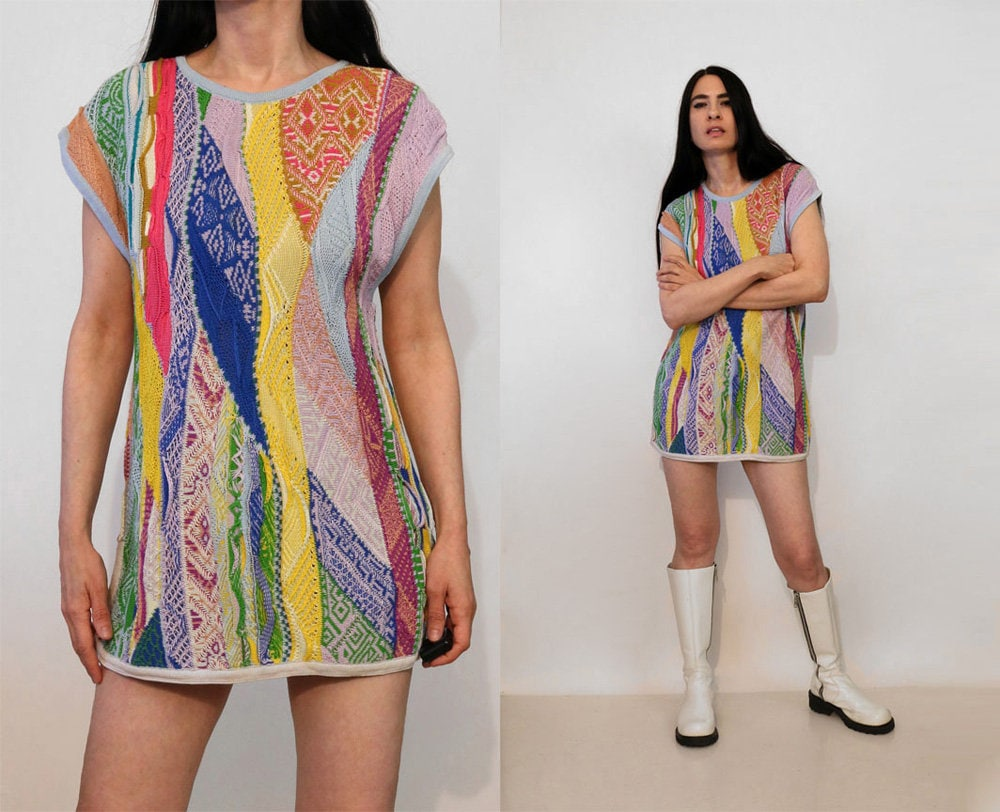 80s Dresses | Casual to Party Dresses Rare Coogi Patchwork Knit DressVintage 1980S Australia Cotton Sweater Rainbow Abstract Mini Tunic $25.00 AT vintagedancer.com