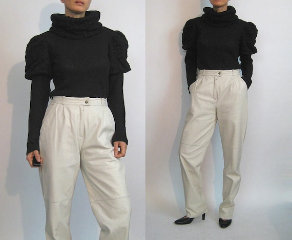 80s Ivory Leather Trousers / Vintage 1980s Off Whi