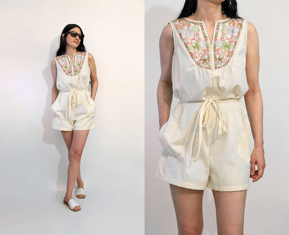 70s Embroidered Zip Up Shorts Romper / Vintage 197