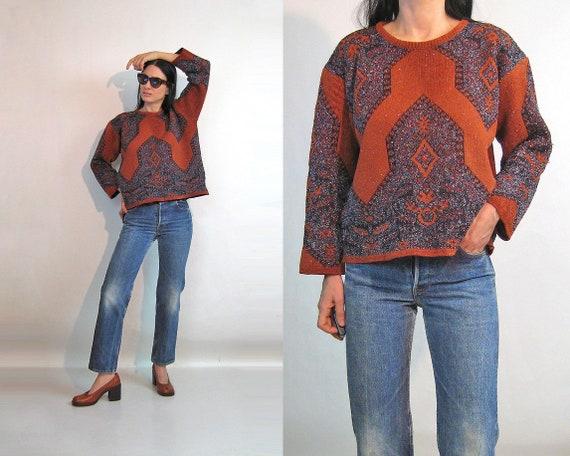 Mixed Media Geo Sweater / Vintage 1980s Brick Velo