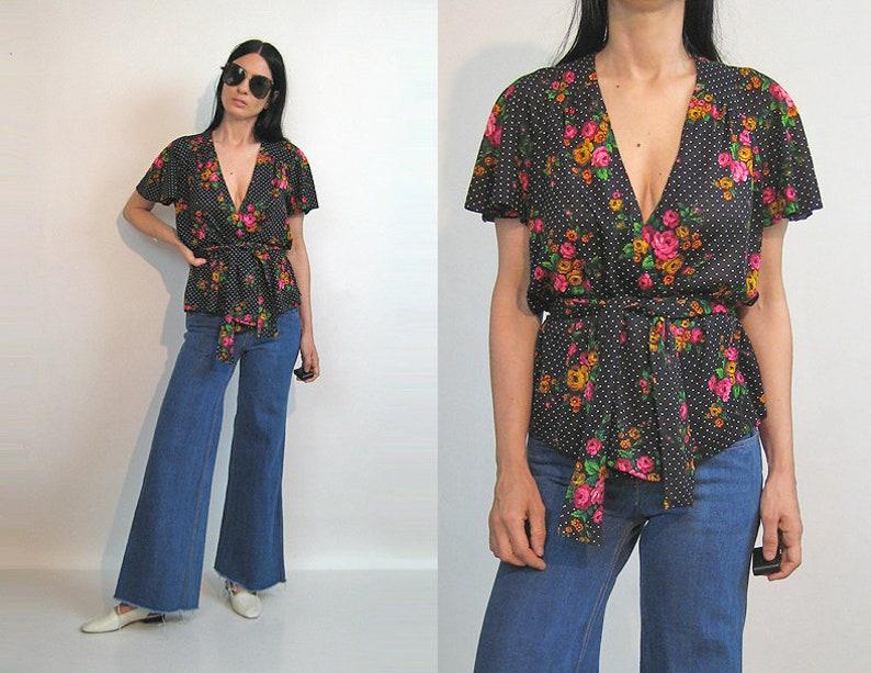 ac1298f3d319 70s Dotted Floral Cotton Wrap Blouse / Vintage 1970s Black n   Etsy