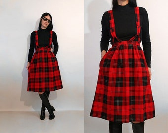 70s Plaid Flannel Suspender Dress / Vintage NWT Deadstock Plaid Flannel Cotton Overall Skirt Dress