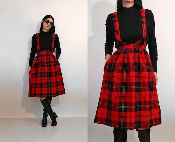 70s Plaid Flannel Suspender Dress / Vintage NWT De