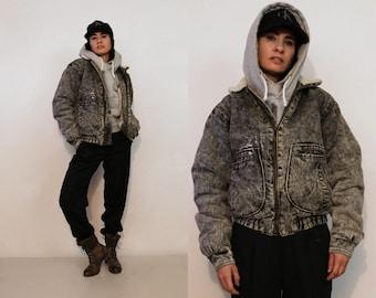 Le Tigre Black Denim Sherpa Bomber Jacket / Rare Vintage 1980s Le Tigre Faded Black Denim Zip Up Jacket / Black Fleece Lined Jean Jacket