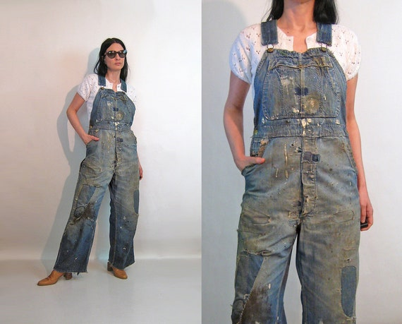 40s Patched Faded Overalls / Vintage 1940s Distres