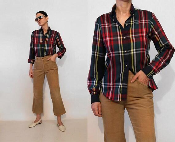 70s Tartan Cotton Shirt /