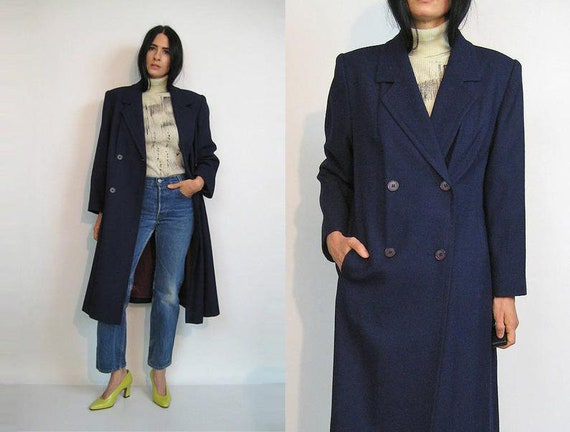 Navy Wool Peacoat / Vintage 80s Navy Blue Wool Coa