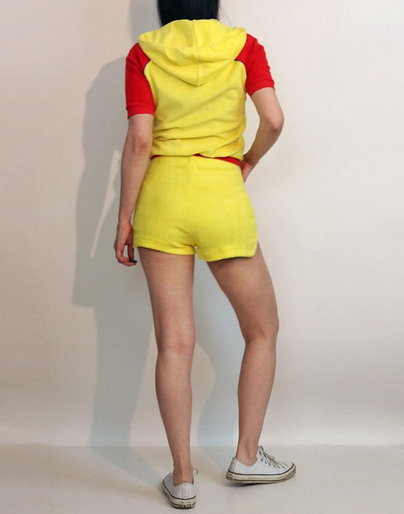 70s Color Block Shorts Set / Vintage 1970s Canary… - image 4