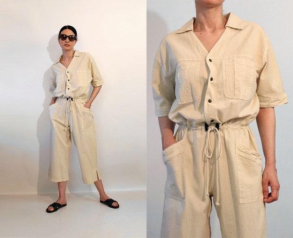 Vanilla Drawstring Cotton Jumpsuit / Vintage Off W