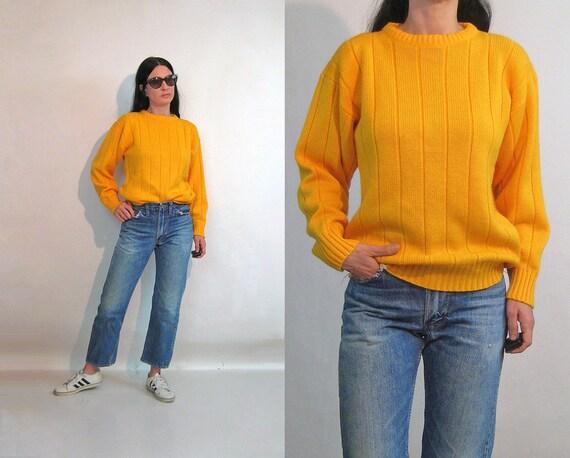 Orange Thick Ribbed Sweater / Vintage 1980s Orange