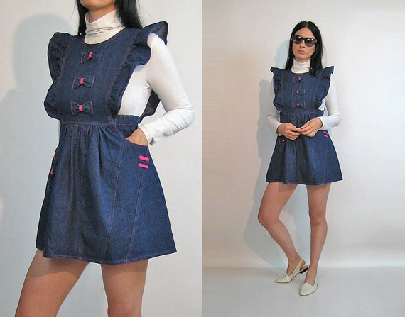 Denim Pinafore Bow Dress / Vintage 1980s Dark Ind… - image 1