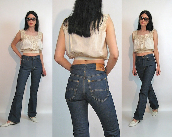 70s Lee Riders Flared Jeans 26x30.5 / Vintage 1960
