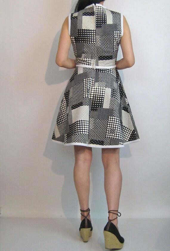 60s Dotted Plaid Cotton Dress / Vintage 1960s Pol… - image 3