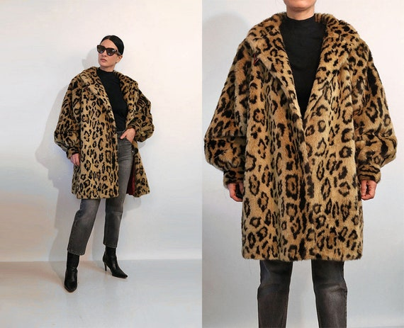 Leopard Faux Fur Balloon Sleeve Coat / Vintage 198