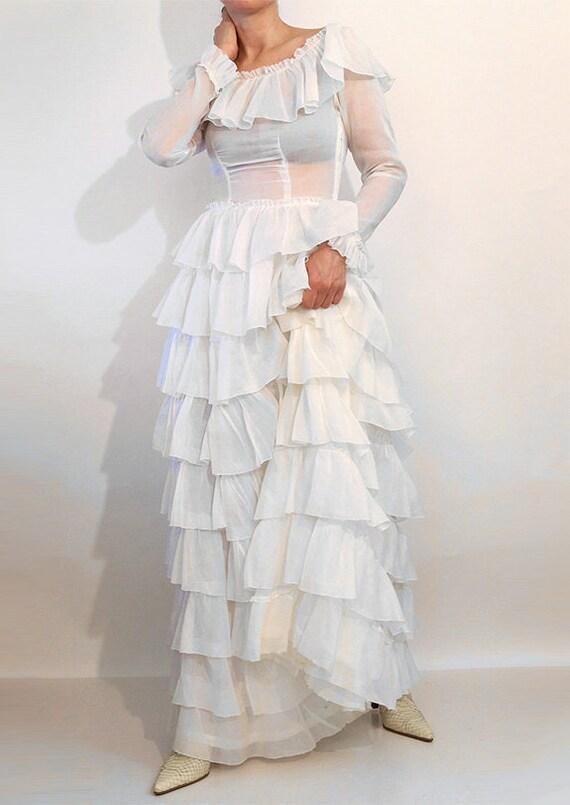 30s Ruffled Cotton Voile Dress / Vintage 1930s Sh… - image 3