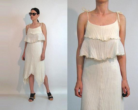 70s Ruffled Gauze Cotton Pixie Dress / Ivory Cotto