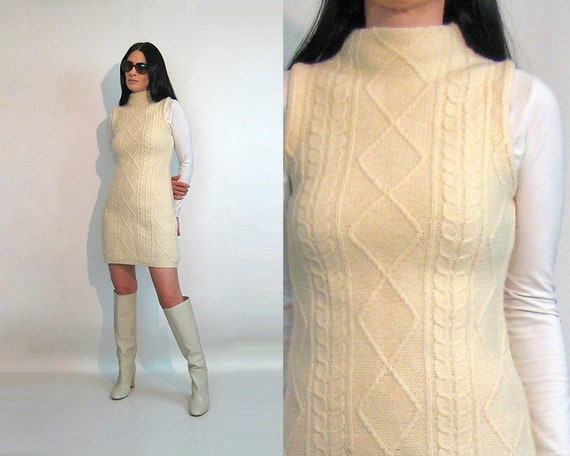 60s Cable Knit Wool Dress / Vintage 1960s Ivory Wo