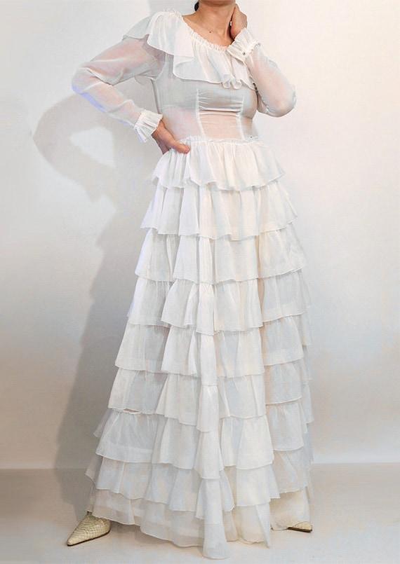30s Ruffled Cotton Voile Dress / Vintage 1930s Sh… - image 2