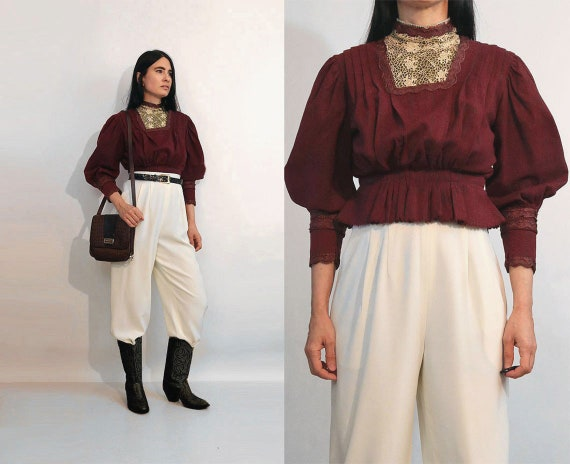 Antique Wool & Lace Mutton Blouse / Victorian Aube