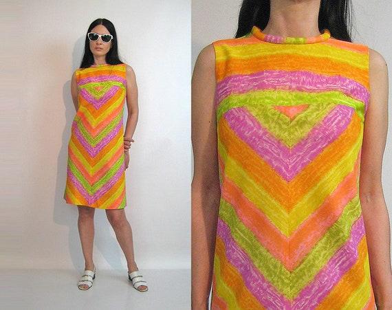 60s Sorbet Rainbow Chevron Dress / Vintage 1960s R