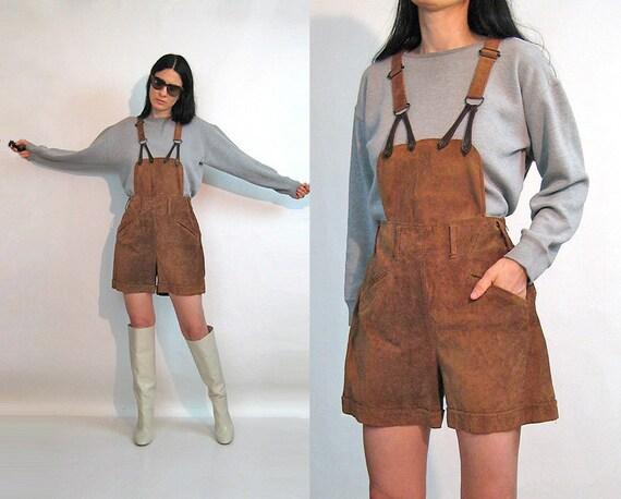 Caramel Suede Suspender Shortalls / Vintage 1980s