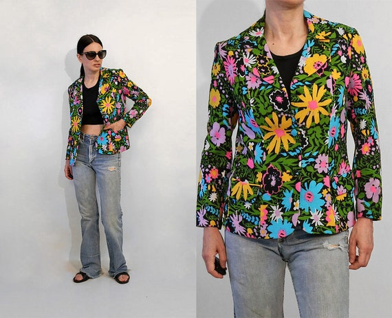 Peony Print Italian Tweed Silk Lined Holiday Garden Party Floral Blazer Jacket M