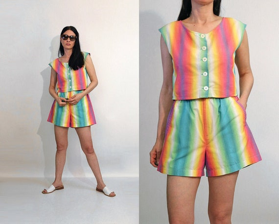 Rainbow Ombre Shorts Set / Vintage 1980s Rainbow O