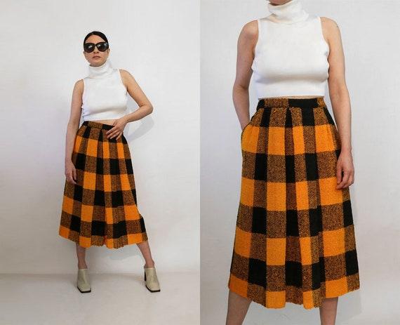 Check India Woven Cotton Skirt / Vintage 1980s Ora
