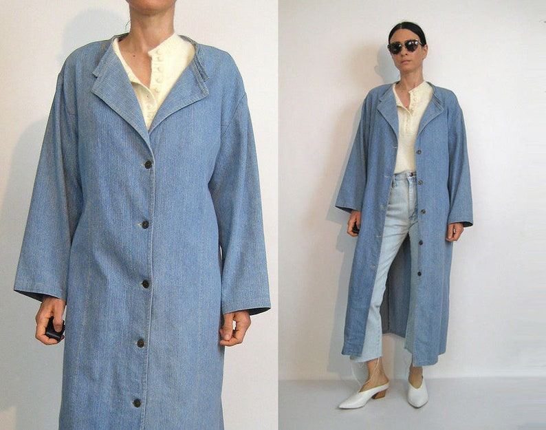 9915af41e46 Pin Striped Denim Duster Coat   Vintage 80s Striped Denim Coat