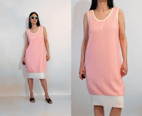 Pink Ribbed Cotton Tank Dress