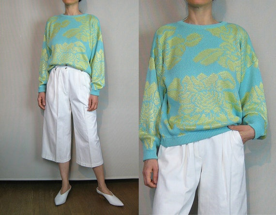 Cotton Knit ROSE Sweater / 80s Oversized Esprit Ro
