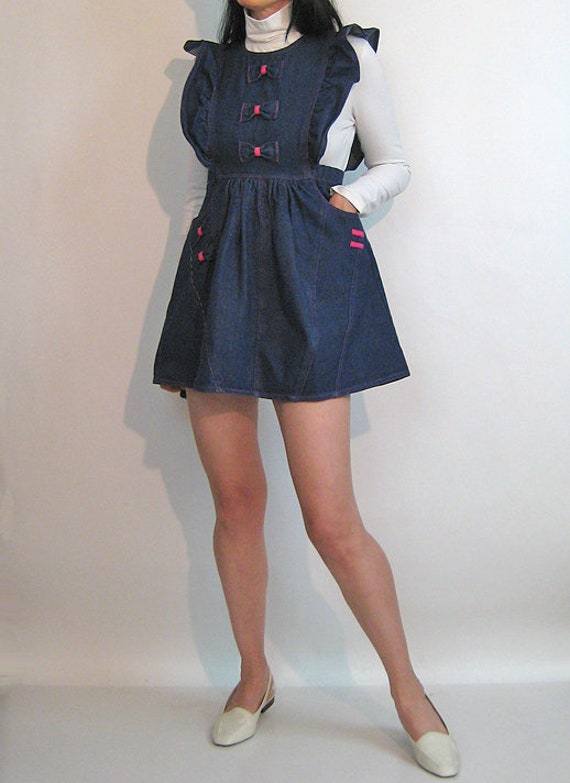 Denim Pinafore Bow Dress / Vintage 1980s Dark Ind… - image 2