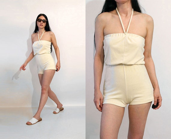 70s Vanilla Velour Shorts Romper / Vintage 1970s O